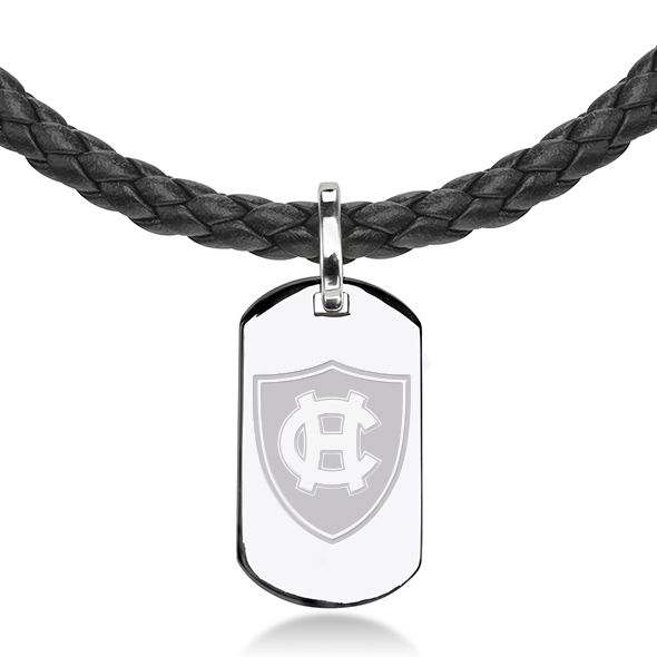 Holy Cross Leather Necklace with Sterling Dog Tag - Image 2