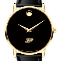 Purdue University Men's Movado Gold Museum Classic Leather