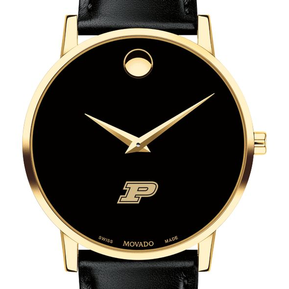 Purdue University Men's Movado Gold Museum Classic Leather - Image 1