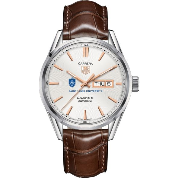 Saint Louis University Men's TAG Heuer Day/Date Carrera with Silver Dial & Strap - Image 2