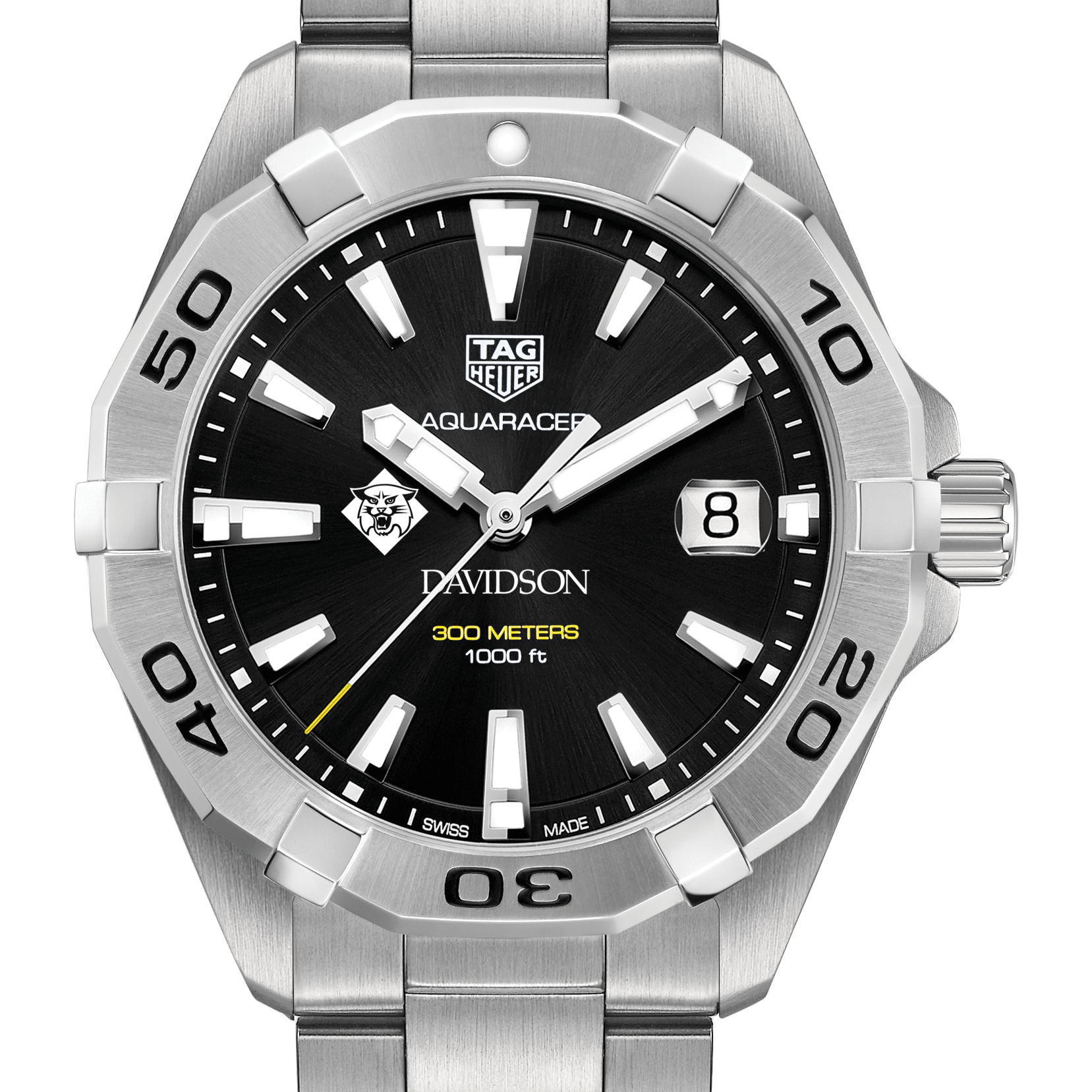 Davidson College Men's TAG Heuer Steel Aquaracer with Black Dial