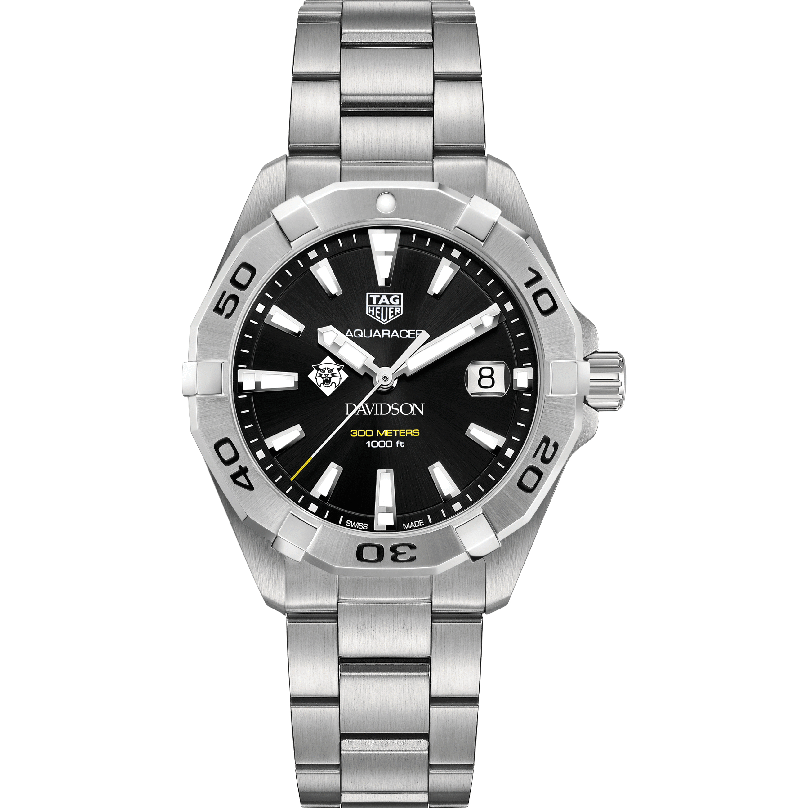 Davidson College Men's TAG Heuer Steel Aquaracer with Black Dial - Image 2