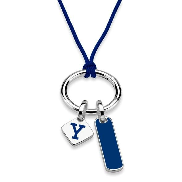 Yale University Silk Necklace with Enamel Charm & Sterling Silver Tag - Image 2