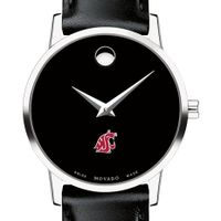 Washington State University Women's Movado Museum with Leather Strap