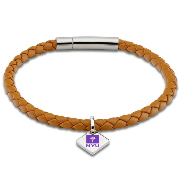 NYU Leather Bracelet with Sterling Silver Tag - Saddle