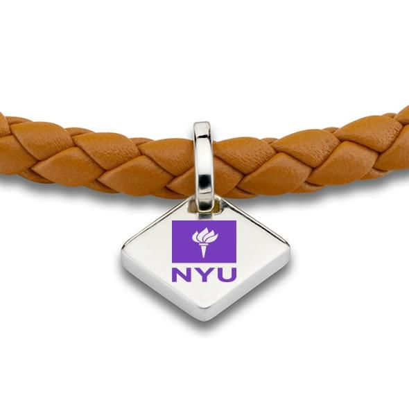 NYU Leather Bracelet with Sterling Silver Tag - Saddle - Image 2