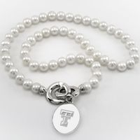 Texas Tech Pearl Necklace with Sterling Silver Charm