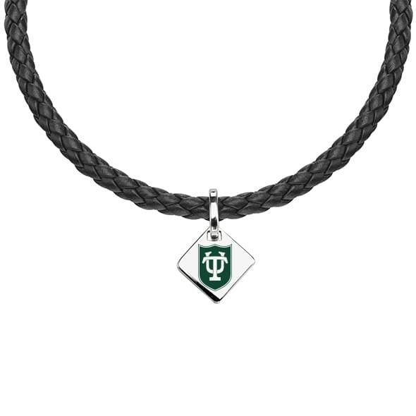 Tulane University Leather Necklace with Sterling Silver Tag