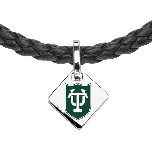 Tulane University Leather Necklace with Sterling Silver Tag - Image 2