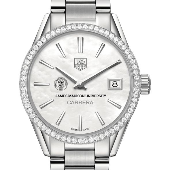 James Madison University Women's TAG Heuer Steel Carrera with MOP Dial & Diamond Bezel