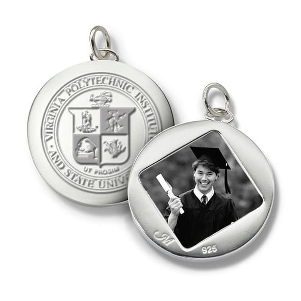 Virginia Tech Monica Rich Kosann Round Charm in Silver - Image 1