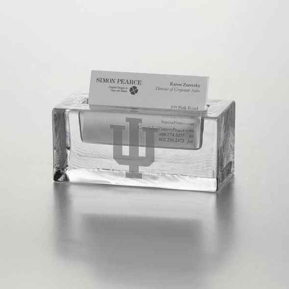 Indiana University Glass Business Cardholder by Simon Pearce