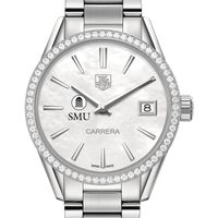 Southern Methodist University Women's TAG Heuer Steel Carrera with MOP Dial & Diamond Bezel