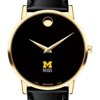 Michigan Ross Men's Movado Gold Museum Classic Leather