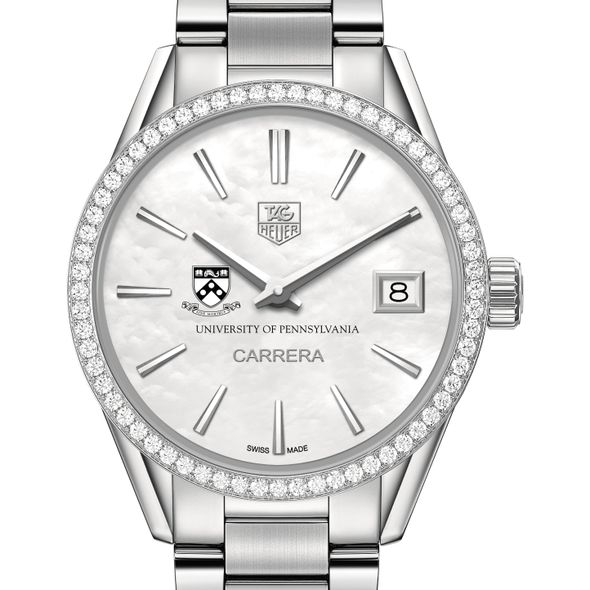 University of Pennsylvania Women's TAG Heuer Steel Carrera with MOP Dial & Diamond Bezel