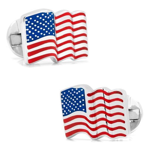 Sterling and Enamel Wavy U.S. Flag Cufflinks