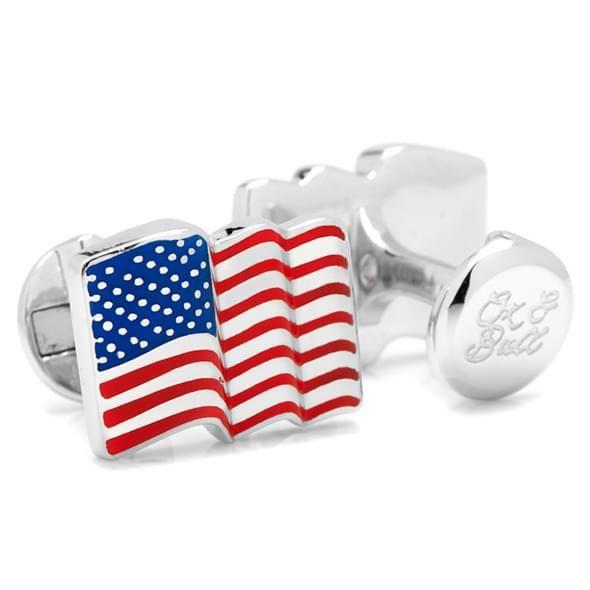 Sterling and Enamel Wavy U.S. Flag Cufflinks - Image 2