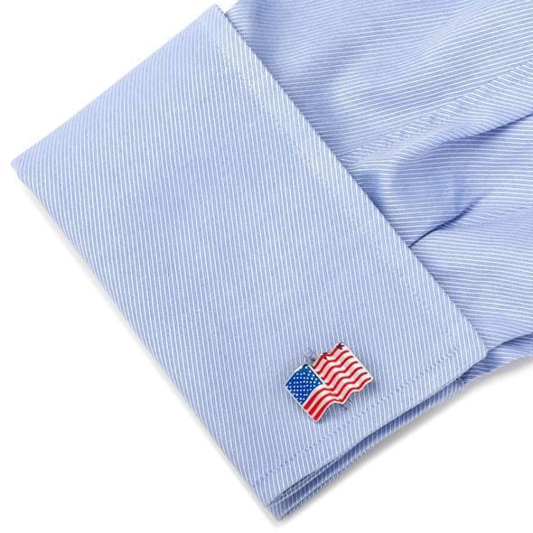 Sterling and Enamel Wavy U.S. Flag Cufflinks - Image 3