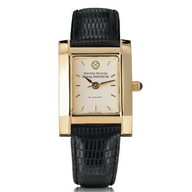 USNI Women's Gold Quad Watch with Leather Strap - Image 2
