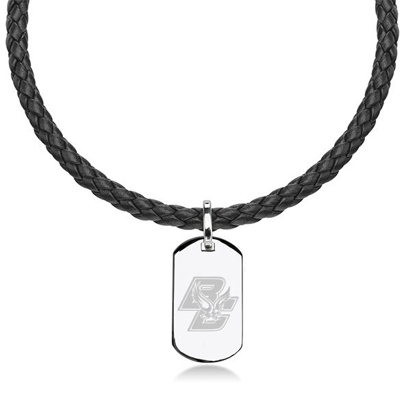 Boston College Leather Necklace with Sterling Dog Tag