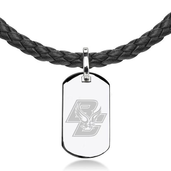 Boston College Leather Necklace with Sterling Dog Tag - Image 2