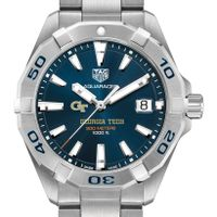 Georgia Tech Men's TAG Heuer Steel Aquaracer with Blue Dial