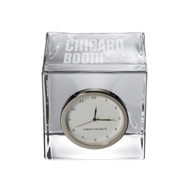 Chicago Booth Glass Desk Clock by Simon Pearce