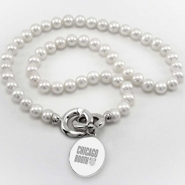 Chicago Booth Pearl Necklace with Sterling Silver Charm