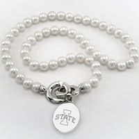 Iowa State University Pearl Necklace with Sterling Silver Charm