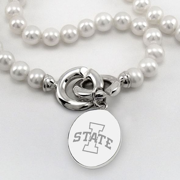 Iowa State University Pearl Necklace with Sterling Silver Charm - Image 2