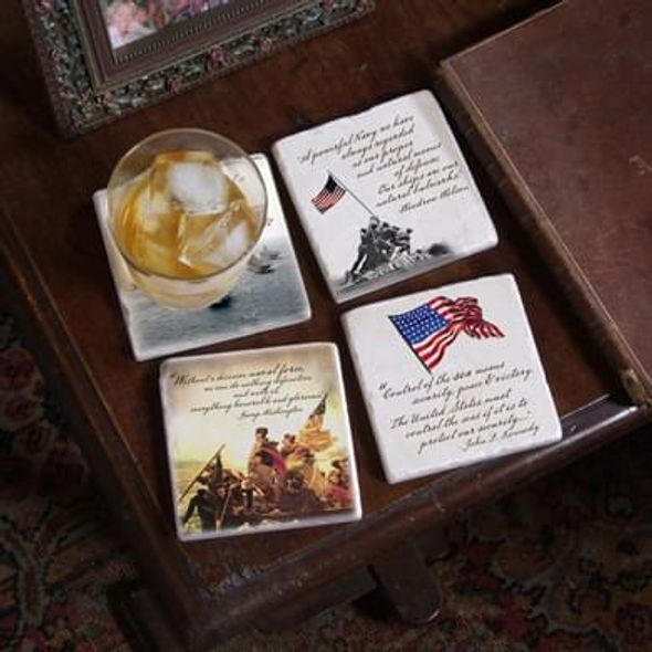 Naval Quotes Marble Coasters