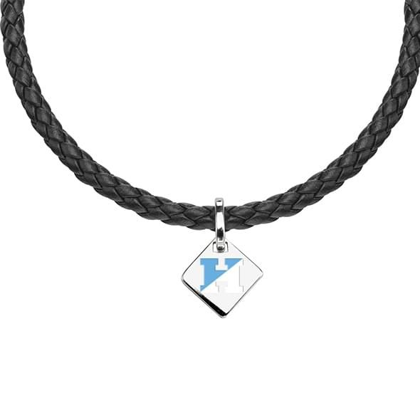 Johns Hopkins Leather Necklace with Sterling Silver Tag