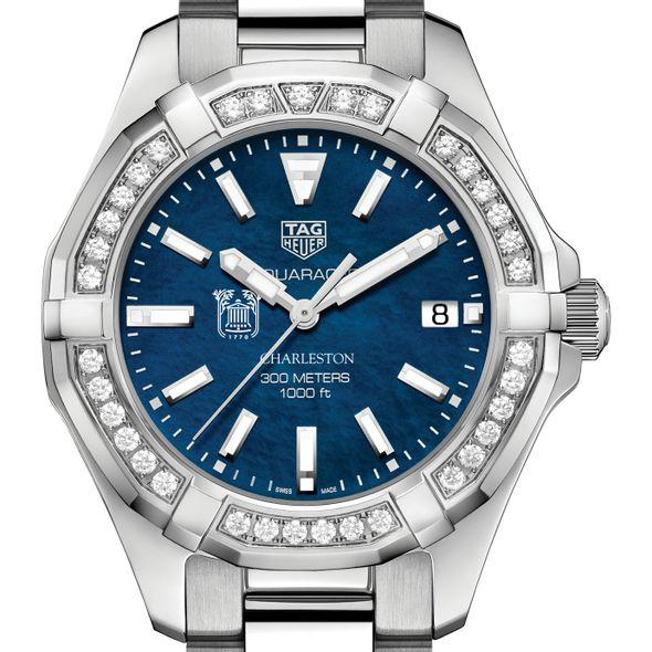 Charleston Women's TAG Heuer 35mm Steel Aquaracer with Blue Dial - Image 1