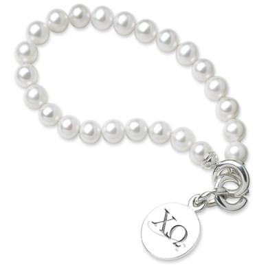 Chi Omega Pearl Bracelet with Sterling Silver Charm