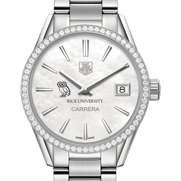 Rice University Women's TAG Heuer Steel Carrera with MOP Dial & Diamond Bezel