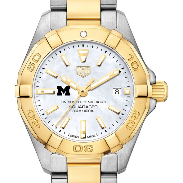 University of Michigan TAG Heuer Two-Tone Aquaracer for Women