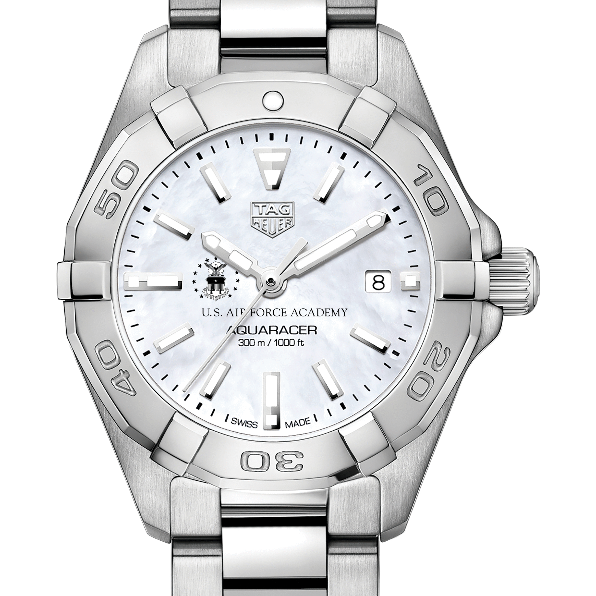 Air Force Academy Women's TAG Heuer Steel Aquaracer with MOP Dial - Image 1