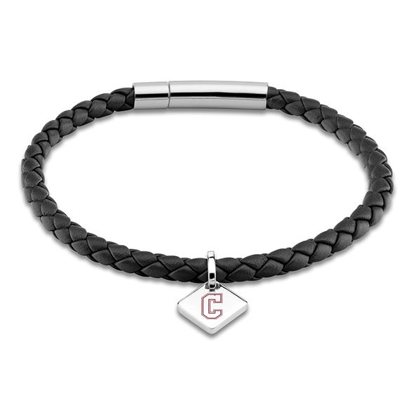 College of Charleston Leather Bracelet with Sterling Silver Tag - Black