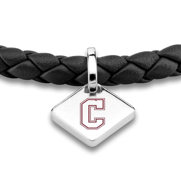College of Charleston Leather Bracelet with Sterling Silver Tag - Black - Image 2