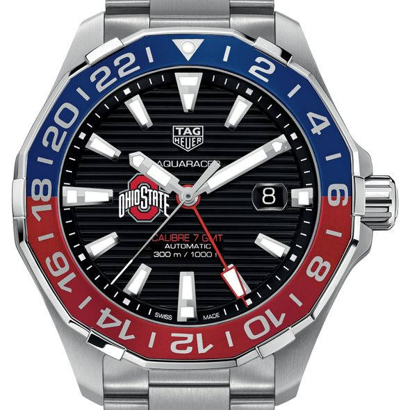 Ohio State Men's TAG Heuer Automatic GMT Aquaracer with Black Dial and Blue & Red Bezel - Image 1