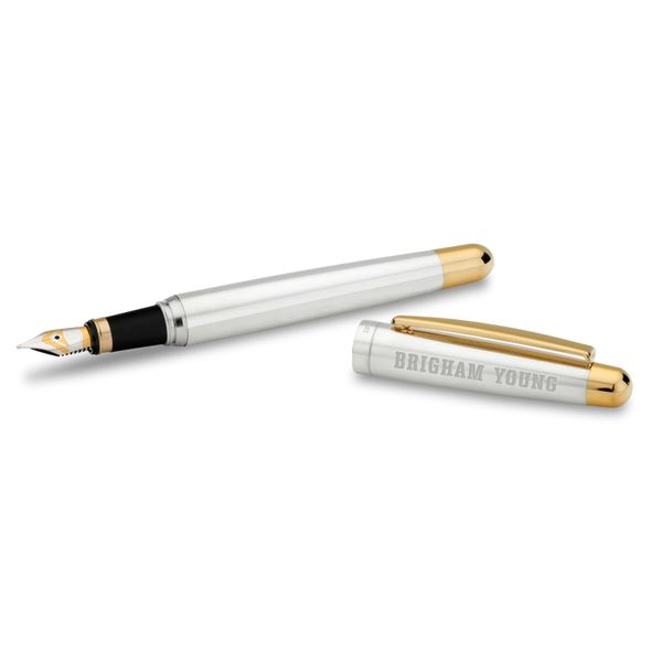 Brigham Young University Fountain Pen in Sterling Silver with Gold Trim