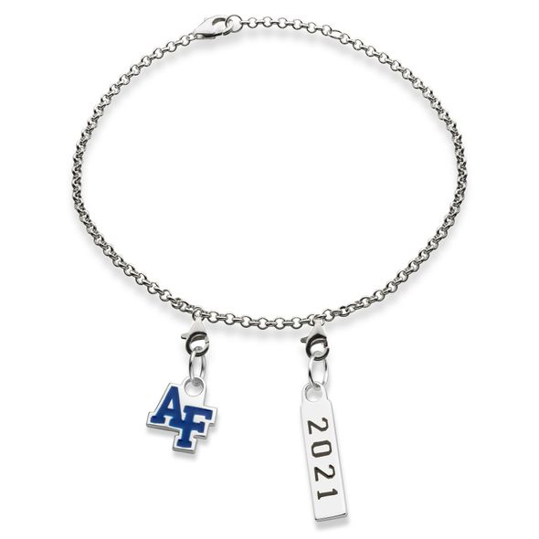 USAFA 2021 Sterling Silver Bracelet with Two Charms - Image 1