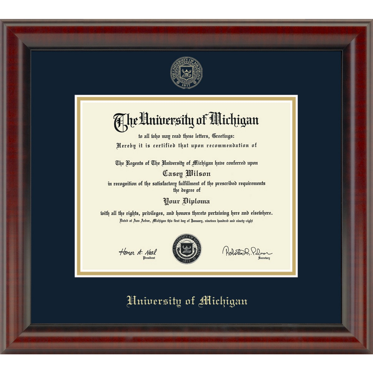 University Of Michigan Phd Diploma Frame Fidelitas