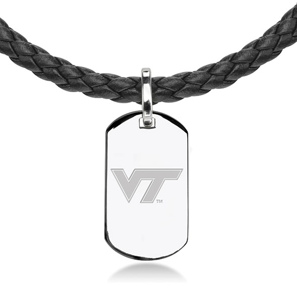 Virginia Tech Leather Necklace with Sterling Dog Tag - Image 2