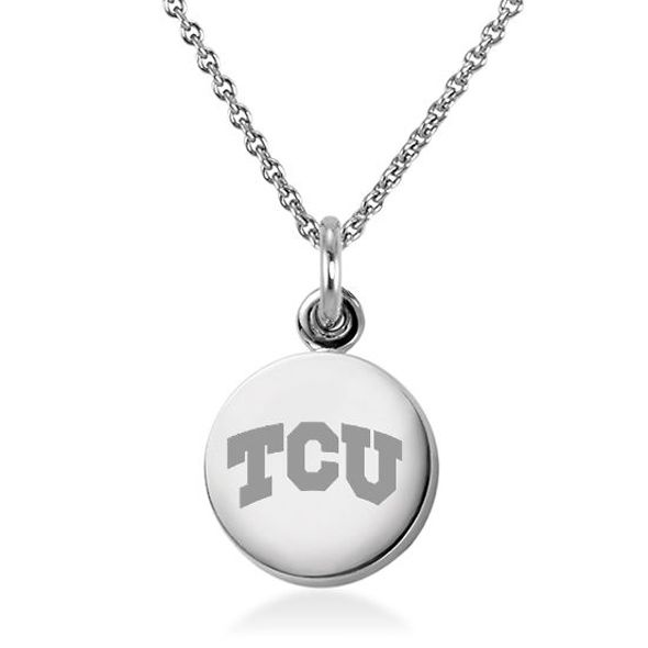 Texas Christian University Necklace with Charm in Sterling Silver