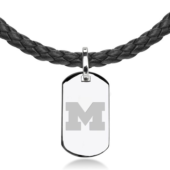 University of Michigan Leather Necklace with Sterling Dog Tag - Image 2