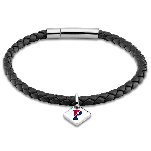 Penn Leather Bracelet with Sterling Silver Tag - Black