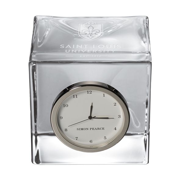 Saint Louis University Glass Desk Clock by Simon Pearce