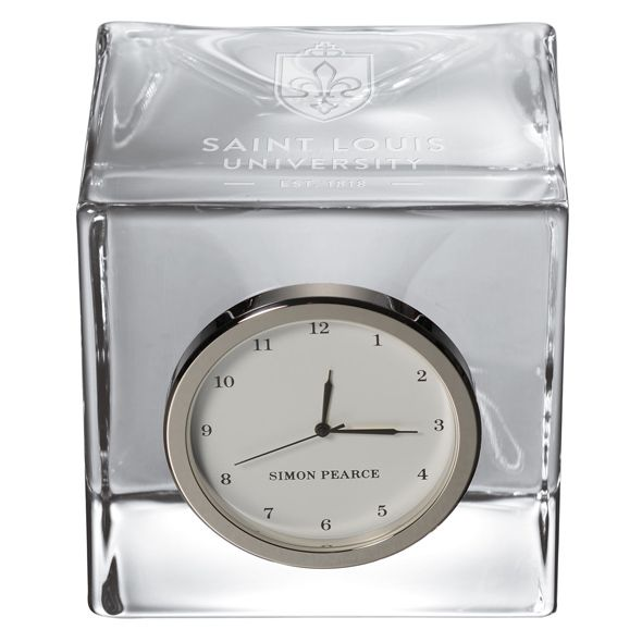 Saint Louis University Glass Desk Clock by Simon Pearce - Image 2