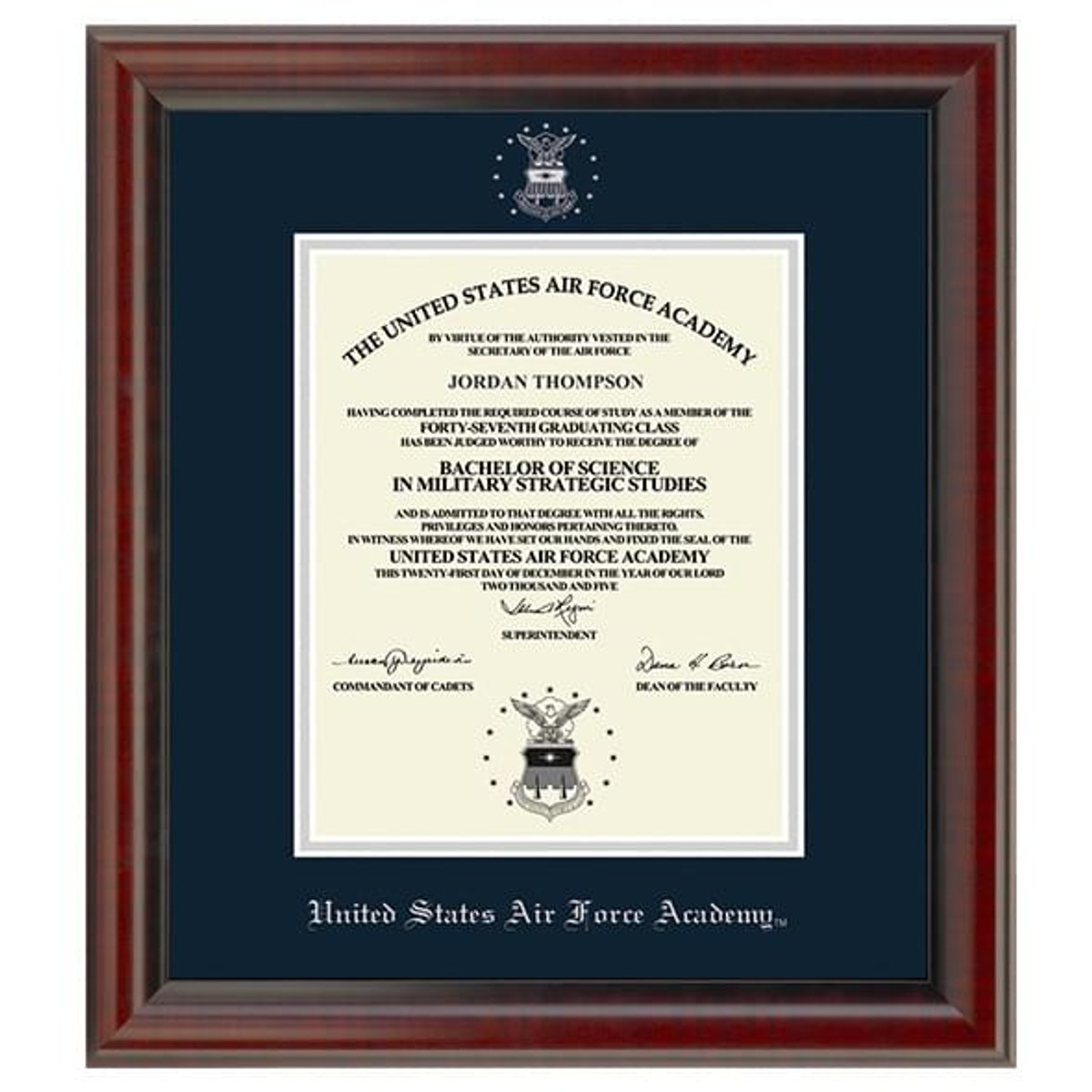 Official Us Air Force Academy Diploma Frame The Fidelitas